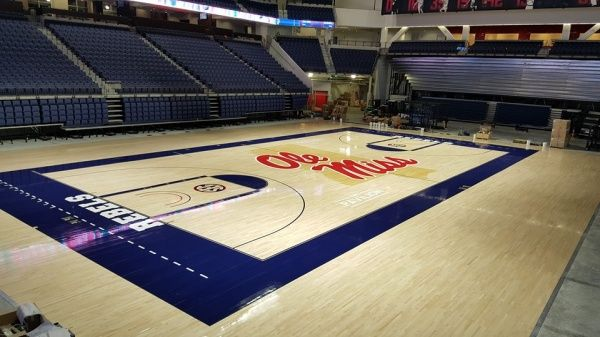 ole miss gym basketball court refinished