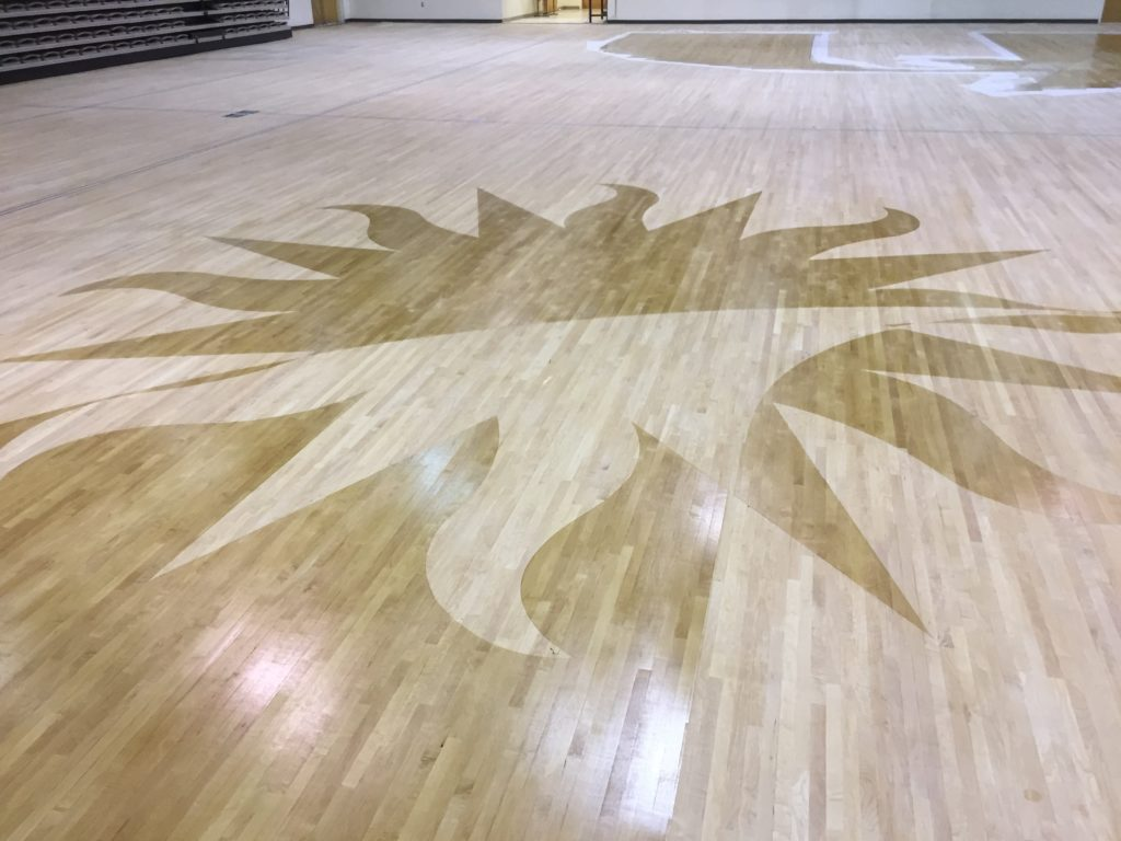 polished and maintained gym floor